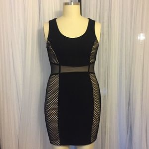 Black Nude and Mesh Bodycon Dress Size 2X